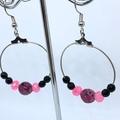 Handmade Pretty Pink Jade & Crystal hoop earrings.