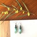 Green Jade, Agate & Shell earrings