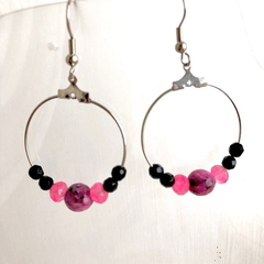 Handmade Pretty Pink Jade & Crystal hoop earrings.