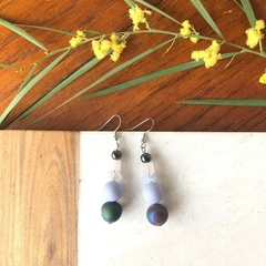 Purple Shell & Gemstone dangle earrings.