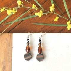 Tigers Eye & Crystal dangle earrings.