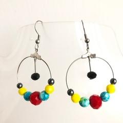 Fun fiesta style handmade hoop earrings.