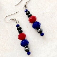 Faceted Crystal & Hematite handmade dangle earrings.