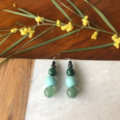 Green Jade, Agate & Shell earrings