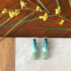 Green Jade, Shell, Agate & Hematite dangle earrings.