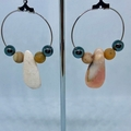Handmade earrings - Pink Opal, Amazonite & Hematite hoops.