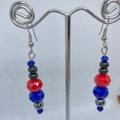 Faceted Crystal & Hematite handmade dangle earrings.