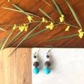 Druzy, Shell, Rose Quartz & Shell earrings.