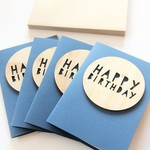 Happy Birthday card wood and paper for him for her