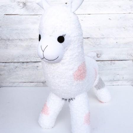 'Ada' the Sock Alpaca - peach grey & white - *READY TO POST*