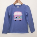 Size 5 - Camper Top - Lilac/Blue - Long  Sleeved - Retro - Girls - Combi