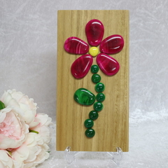 Raspberry Flower Wall-hanging Stone Art
