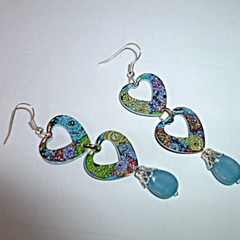 Enamel and Aquamarine heart earrings.