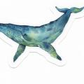 Watercolour Whale & Octopus Sticker Sheet, Planner Stickers, 'Deep Blue' series