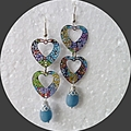 Enamel and Aquamarine heart earrings. FREE SHIPPING
