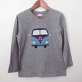 Size 1 - Camper Top - Grey - Long  Sleeved - Retro - Boys - Combi