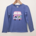 Size 2 - Camper Top - Lilac/Blue - Long  Sleeved - Retro - Girls - Combi