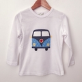 Size 3 - Camper Top - White - Long  Sleeved - Retro - Boys - Combi