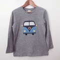 Size 6 - Camper Top - Grey - Long  Sleeved - Retro - Boys - Combi
