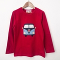Size 6 - Camper Top - Red - Long  Sleeved - Retro - Boys - Combi