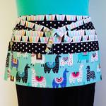 Teacher daycare preschool vendor utility half apron with 6 pockets - Llamas