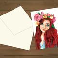 Flora's Secret - Artist Greeting Card, Redhead Woman Illustration, Blank inside