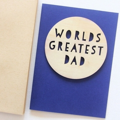 Dad Worlds Greatest card Father's Day Birthday wood and paper for him