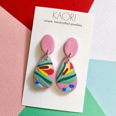 Polymer clay earrings, statement earrings in pink floral