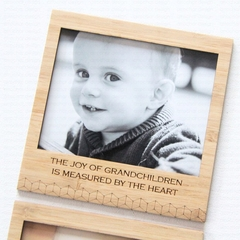 Joy of Grandchildren  magnetic photo frame Father's Day bamboo dad grandad