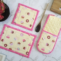 Cupcake Oven Glove and Hotpad Set Baking Gift for Her Yellow Pink Kitchen Decor