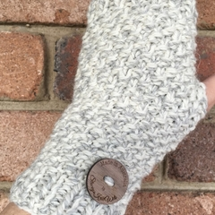 Grey handwarmers adult sized, texting gloves cream fingerless gloves alpaca