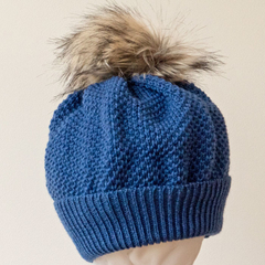 Adult beanie,  dusty blue textured  wool, faux fur pompom.