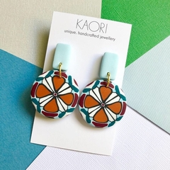 Polymer clay earrings, statement earrings in orange and teal floral