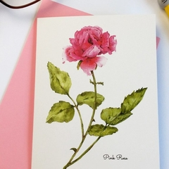 Pink Rose A6 Botanical Art Greeting Card Blank inside