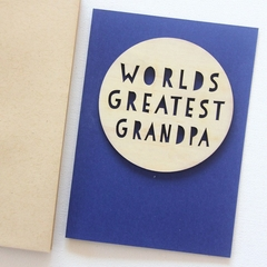 Grandpa Worlds Greatest card Father's Day Birthday wood and paper for him
