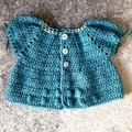 Little Teal Cardigan. Size 1 - 3.