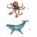 Watercolour Whale & Octopus Large Stickers, Planner Stickers, 'Deep Blue' series
