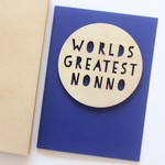 Nonno Worlds Greatest card Father's Day wood and paper for him