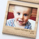 Happy Father's Day magnetic photo frame bamboo dad grandad