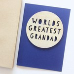 Grandad Worlds Greatest card Father's Day wood and paper for him