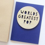 Pop Worlds Greatest card Father's Day wood and paper for him