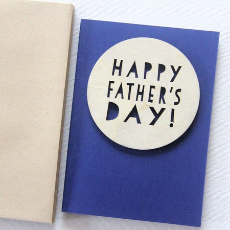 Happy Father's day card wood and paper for him Dad Grandad