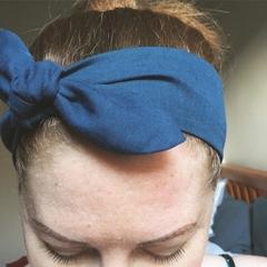 Adults Linen headband - gorgeous deep Teal tie up headband Adult size