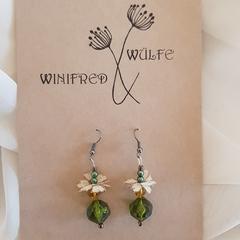 Beaded vintage lace earrings