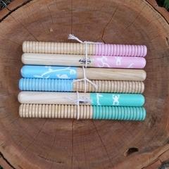 Wooden tapping sticks - garden theme