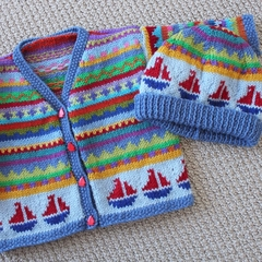 Blue Boat Cardigan & hat -  Size 6-12 months - Hand knitted