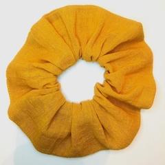 Scrunchie - XL bright mustard yellow cheesecloth cotton scrunchy, hair tie