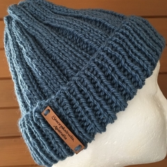 Blue mens beanie grey ladies winter hat knitted ethical beanie