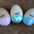 Wooden shaker egg - jungle themed design. First Easter, chocolate-free Easter gi