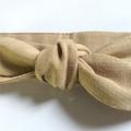 Kids Linen headband - Light Brown tan colour headband - KIDS size